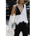 Womens Sexy Deep V Neck Long Sleeve Ripped Raw Cut Edge Loose Fit Plain Pullover Sweater