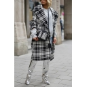 Womens British Style Checked Pattern Long Sleeve Notched Lapel Open Front Black and White Longline Coat