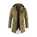 Mens Plain Logo Applique Chest Long Sleeve Drawstring Waist Split Back Longline Hooded Jacket Coat