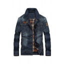 Mens Stylish Badge Patch Long Sleeve Single Breasted Plaid Lined Denim Jacket Coat with Pocket