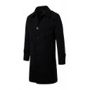 Mens Simple Plain Long Sleeve Lapel Collar Single Breasted Longline Wool Coat Overcoat with Pocket