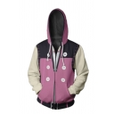 New Fall Unisex Cosplay Costume Long Sleeve Zip Up Pink Fitted Drawstring Hoodie