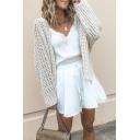 Women's Stylish Beige Long Sleeve Side Split Open-Knit Sweater Cardigan
