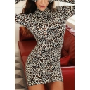 Womens Sexy Leopard Print Glove Sleeves High Collar Mini Bodycon Dress