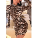 Womens Chic Leopard Print Gloves Long Sleeve Round Neck Mini Bodycon Dress