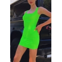 Womens Casual Solid Color Scoop Neck Sleeveless Mini Tank Dress