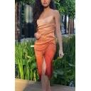 Womens Fashion Orange Ombre Spaghetti Strap Side Split Midi Cami Dress