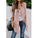 New Fashion Plain Waterfall Open Front Long Sleeve Casual Tunic Wrap Cardigan Coat