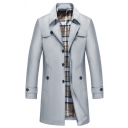 Men's Fall Stylish Long Sleeve Single Breasted Casual Longline Trench Coat Overcoat