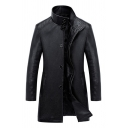 Winter Cool Plain Stand Collar Button Front Mens Faux Leather Business Longline Jacket Coat