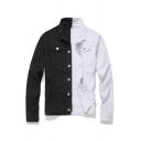 Fall Stylish Black and White Color Block Single Breasted Long Sleeve Thin Denim Jacket Coat