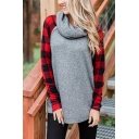 Womens Unique Cowl Neck Red Check Patched Long Sleeve Loose Fit Gray Pullover Sweatshirt