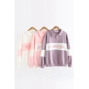 Lovely Cartoon Pig Pattern Long Sleeve Lapel Collar Button Front Color Block Henley Sweatshirt