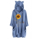 Womens Active Sunflower Pattern Roll Up Sleeve Loose Fit Tunic Cat Ear Hoodie with Dual Pocket