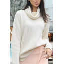 Womens Chic White Cowl Neck Long Sleeve Side Slit Ribbed Knit Loose Fit Pullover Sweater