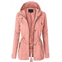 Womens Leisure Plain Long Sleeve Drawstring Waist Split Back Zip Up Casual Hooded Outdoor Windbreaker