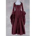 Medieval Fashion Womens Square Neck Flared Sleeve Plain Maxi Vintage Wedding Dress