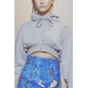 Ladies Casual Plain Long Sleeve Loose Cropped Drawstring Pullover Hoodie