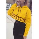 Womens Yellow Fashionable Letter SOOOOCUTE Printed Long Sleeve Loose Fit Crop Drawstring Hoodie
