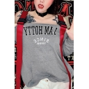 Girls Sexy Letter I AM HOTTY Printed Push Buckle Strap Long Sleeve Gray Loose Longline Sweatshirt with Pocket
