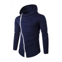 Stylish Plain Oblique Zipper Long Sleeve Fitted Hooded Hoodie