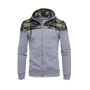 Fashionable Camo Panelled Long Sleeve Zip Up Slim Fit Drawstring Hoodie
