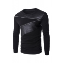 Men Leisure Black Round Neck Long Sleeve Quilted Plaid Leather Patchwork Zipper Decoration Pullover Sweatshirt