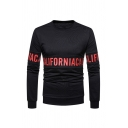 Fancy Letter Printed Round Neck Long Sleeve Simple Pullover Sweatshirt for Men
