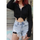 Womens Sexy Chain Embellished Long Sleeve Asymmetric Hem Slim Fit Black Zipper Crop Hoodie