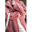 Stylish Pink Solid Color Lapel Collar Long Sleeve Button Front Faux Fur Longline Coat with Pocket