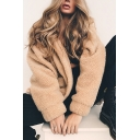 Winter Fashionable Plain Long Sleeve Zip Up Faux Fur Fluffy Oversized Coat with Pocket