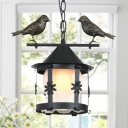 Cylinder Hanging Lamp with Opal Glass Shade Country 1/2-Light Metal Ceiling Pendant with Bird in Black/Aged Brass
