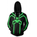 Black and Green Abstract Spider 3D Print Long Sleeve Zip Up Casual Drawstring Hoodie