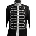 Mens Medieval Vintage Stand Up Collar Studded Embellished Long Sleeve Black Gothic Jacket Blazer