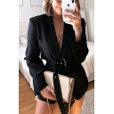 Plain Black Sexy Notched Lapel Collar Long Sleeve Belted Flap Pocket Blazer Coat