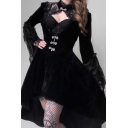 Womens Elegant Steampunk Stand Collar Lace Patch Bell Sleeve Bow Button High Low Cutout Front Black Midi Gothic Velvet Dress