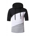 Mens Classic Colorblock Patchwork Short Sleeve Fitted Drawstring Hoodie Hooded T-Shirt