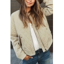 Hot Popular Stand Up Collar Long Sleeve Zip Up Apricot Plain Quilted Lightweight Jacket with Pocket
