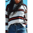Womens Fashion Striped Panel Crew Neck Long Sleeve White Loose Classic Pullover Sweater