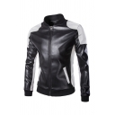 New Trendy Black and White Color Block Long Sleeve Stand Collar Full Zip Slim Fit PU Jacket with Pocket