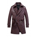 New Trendy Notch Lapel Long Sleeve Adjustable Cuffs Double Breasted Plain PU Longline Jacket Overcoat