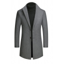 Hot Popular Gray Shawl Collar Long Sleeve Button Cuff Single Breasted Longline Wool Overcoat for Men