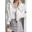 Womens Fashionable Streetwear Plain Long Sleeve Zip Closure False Two Pieces Casual Cropped Jacket