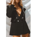 Ladies Fashion Black Shawl Collar Long Sleeve Button Front Loose Tunic Tuxedo Blazer Coat