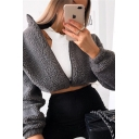Winter Fashion Dark Grey Stand Collar Long Sleeve Zip Up Sherpa Fleece Cropped Jacket Plain Sweatshirt