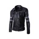 Mens Popular Long Sleeve Zip Up Multi-Pocket Slim Fit Epaulets Embellished Varsity-Stripe Faux Leather Jacket