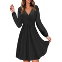 Womens Chic Surplice V-Neck Long Sleeve Gathered Waist Solid Color Mini A-Line Dress