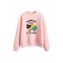 Girls Cute RAINBOW SHEEP OF THE FAMILY Printed Mock Neck Long Sleeve Pullover Sweatshirt