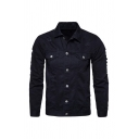 Mens Fashion Solid Color Lapel Collar Single Breasted Ripped Shirt Jacket with Pocket