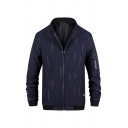 Mens Casual Lines Pattern Long Sleeve Stand Collar Zip Up Leisure Fitted Jacket